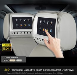 Sd Dvd Player Australia - 2x 9 inch Touch Screen Car DVD Player Headrest Pillow with USB SD FM IR Game Remote Control Rear-Seat Entertainment Grey Tan Black
