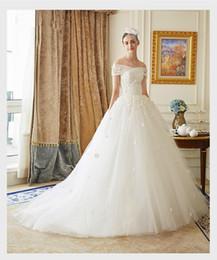 Опт сексуальная лодка шеи cap рукавом кружева аппликации старинные свадебное платье бальное платье тюль бисером vestidos casamento невесты Платья 2018