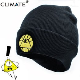 Fallen Hats Australia - CLIMATE Gravity Falls Bill Winter Warm Knit Beanie Skullies Hat Caps Adult Boy Dipper Mabel Bill Black Cool Men Acrylic Knit Hat