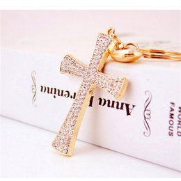 $enCountryForm.capitalKeyWord NZ - Creative New Car Ornaments Keychain Classic Water Droplets Cross Gold Plating Czech Diamond Car Keyring Bag Pendant Accessories