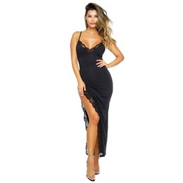 $enCountryForm.capitalKeyWord UK - Maxi Dress Summer Women Clothes Long Party Dress 2018 Sexy Black Spagetti Strap Side Slit Lace Trim