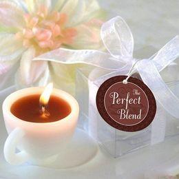100 unids / lote vela de la boda taza de café velas de regalo de boda sin perfume cera perfumada aromaterapia decoración blanco romántico