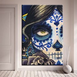 Painting Faces Australia - 1 Pcs Modern Home Decor HD Wall Posters For Living Room SKull Face Canvas Print Painting Pictures No Framed