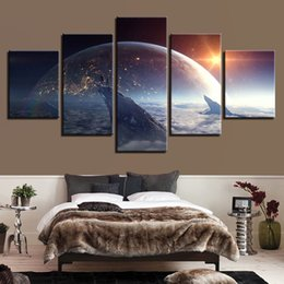 Art Canvas Prints Australia - Pictures Wall Art Frame Canvas HD Prints 5 Pieces Cosmos Space Earth Painting Star Dancers Game Poster Modular Living Room Decor