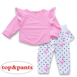 $enCountryForm.capitalKeyWord NZ - kids girls fly sleeved pink tassel T-shirt tops & kids white heart flamingo ruffle tutu pants bloomers 2pc set