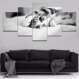 $enCountryForm.capitalKeyWord UK - Canvas modular picture wall artist residence decoration frameless living room 5 pieces animal cute kitten poster HD print painting