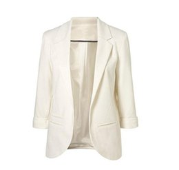 Large Lapel Suits Australia - Large Size Suit Seven Point Sleeve Roll Sleeve All-Match Solid Coat Slim Small Suit