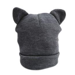 Winter Beanies UK - Cute Cat Ears Knitted Hat Lovely Funny Winter Warm Beanie Hat For Women Female Wool Cap Fashion Design Gray White 994102