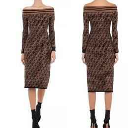 Sexy Designer Dress Femmes Stretch Tricoté Robes Marque Robe En Tricot Midi Gaine Robes Lady FF Lettre Pull Slim Vêtements