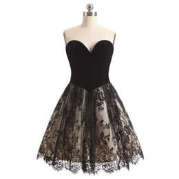 Real Sexy Pictures UK - Sexy Black Party Dresses Lace Cocktail Dress Sweetheart Satin with Lace Cocktail Dress Cheap 2018 Real Pictures Black,Red