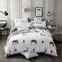 Blue Grey Bedding Set Canada - Blue grey white 100% cotton deer print Bedding Set kids adults Twin Queen Double Single size Duvet cover Bed sheet linen set