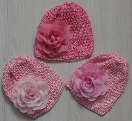 Knitted Hair Hat NZ - 50pcs elastic knit crochet hat with 8cm chiffon fabric flower for baby girls hair supplies