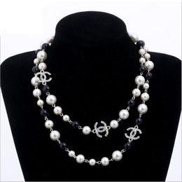 Pérola pérolas naturais contas brancas colar para as mulheres Camisola Longa Cadeia Colar de Jóias bijoux em Promoção
