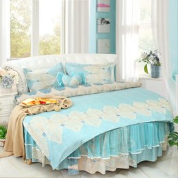 $enCountryForm.capitalKeyWord NZ - Dream round corner lACE luxury beding set king Cotton Blue floral Duvetcover Round bedskirt pillowcase princess Lace RUFFLE wedding bedding