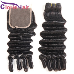 fumi hair extensions 2019 - Spiral Romance Curly Raw Indian Virgin Hair Weaves Nigeria Aunty Funmi Human Hair Bundles With Lace Closure Loose Deep W