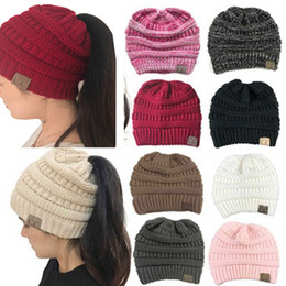0833e1c5414 CC Ponytail Beanie Hat Women Crochet Knit Cap Winter Skullies Beanies Warm  Caps Female Knitted Stylish Hats For Ladies Fashion