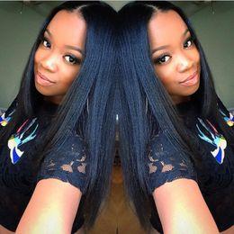 Glueless yaki silk top wiG online shopping - 5 Glueless Silk Top Full Lace Wigs Light Yaki Brazilian Virgin Hair Full Lace Human Hair Wigs Yaki Straight For Black Women