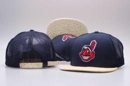 branded baseball mesh caps 2018 - One Piece Mesh Design Indians Snapback Hat Men's Classic Embroidery Team Logo Bones Sports mets Baseball Flat Caps
