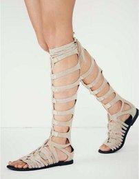 Fashion Trend Booties 2018 Femmes Rome Style Ouvert Toe Croix-attaché Courroie De Cheville Plat Avec Découpes D'été Bottillons Sexy Casual Dress Chaussures Femmes en Solde