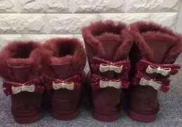 Sheepskin Boots Bows Canada - NEW Fashion Classic Australia WGG single double diamond Snow boots female winter leather bow rhinestone crown warm thick Cotton shoes
