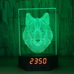 Discount star night light boxes - 3D Wolf Illusion Clock Lamp Night Light RGB Lights USB Powered 5th Battery IR Remote Dropshipping Retail Box