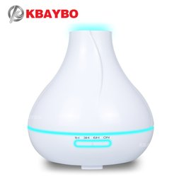 Chinese  KBAYBO400ml ultrasonic air humidifier flat top drip humidifier white aromatic oil diffuser 7 color LED option aroma cold fog bedroom use manufacturers
