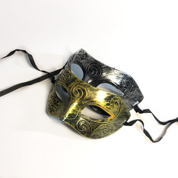 Masks Faces Australia - Halloween Vintage Roman Men's Mask Masquerade Half Face Eye Mask Party Antique Plastic Gift Disco Gold Silver