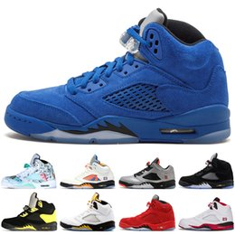 7c75dbaef4db 5 5s Wings International Flight Mens Basketball Shoes Olympic Gold Medal  Fire Red Blue Suede White Cement men sports sneakers designer 7-13