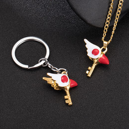 $enCountryForm.capitalKeyWord NZ - Fashion Cardcaptor Sakura Kinomoto Sealing Wand Key Chains Ring Cardcaptor Sakura Bird's Beak Keychain Cosplay Anime Jewelry