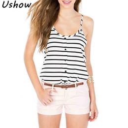 2fd5d84cbc7f2 2018 Summer Spring women t shirt Simple Black White Stripes Printed U-neck  Straps camisole Vest Sexy Sleeveless Tank Tops