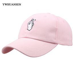 wholesale korean cap 2019 - YWHUANSEN Korean fashion love finger gesture baseball cap GD curved summer unisex cotton Snapback Hat Sun Truck Casual H