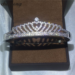silver indian wedding bangles NZ - choucong Crown bracelet Pave setting Diamond S925 Silver Filled Party Wedding bangle for women Fashion accessaries