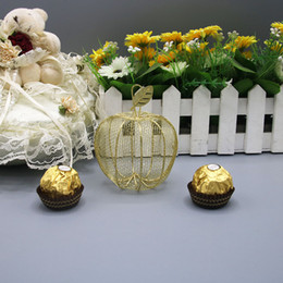 $enCountryForm.capitalKeyWord NZ - 2019 New Wedding Favor Box Baby Shower Gold Matel Boxes Iron Apple Shaped SPECIAL Party Candy Boxes for Guests
