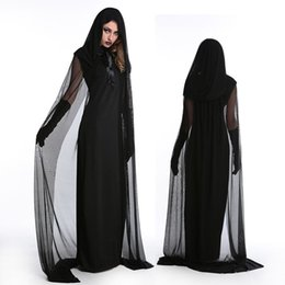 Discount zombie woman costume - Halloween Dress for Women Vampire Zombie Hoddies Lace Horror Vestido Fancy Scary Bride Black Dress Up Witch Cosplay Cost