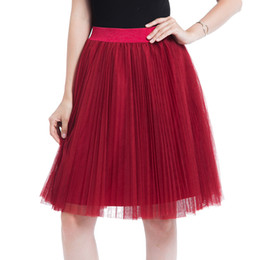 300a679318 4 Layer Voile Tulle Skirts Womens 2018 Spring Summer Elastic High Waist  Pleated Midi Tutu Skirt Jupe Longue Femme