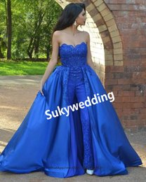 $enCountryForm.capitalKeyWord Australia - Royal Blue Prom Jumpsuits Dresses With Detachable Train Beads Full Lace Strapless Evening Gowns Women Formal Party Dresses Custom Made