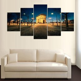 $enCountryForm.capitalKeyWord Australia - Large Poster HD Printed Painting 5 Pcs Building And Lamp Landscape Frame Canvas Home Decoration Wall Art Picture For Living Room