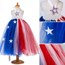 blue red tutus NZ - Girls Fahion Heart Big Star Halter Tulle Red Blue Patchwork Tutu Dresses American Independence Day Dresses Halloween Cosplay Dresses