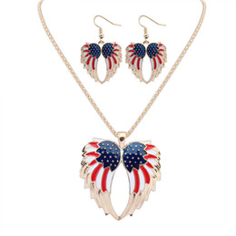 Earring Wholesalers Usa Australia - USA Enamel Angel Wing Jewelry Sets For Girls Gift Gold Plated Flag Angel Wings Necklace Earring Set Vintage Ethnic Jewelry