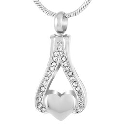 $enCountryForm.capitalKeyWord UK - DJX9040 Hold Little Blank Heart Memorial Urn Jewelry Stainless Steel Teardrop Cremation Ashes Pendant Necklace for Women Keepsake Gift