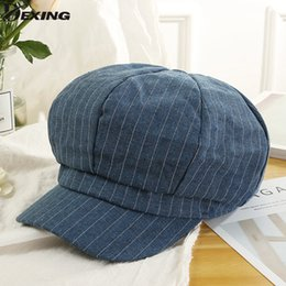 c957a7727c7 2018 new women autumn winter berets Navy cap fashion stripe Casual beret  Visor Hat Women England Style Newsboy Cap