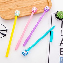 Owl Stationery Wholesale NZ - 36 Pcs Lot Animal Design Cute Owl Gel Pens 0.5mm Roller Ball Pen Black Color Ink Canetas Escolar Stationery Office School Supplies