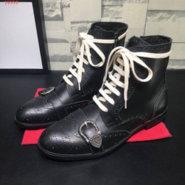 mens italian leather boots 2019 - Luxury designer brand mens shoes Specific class A matte cowhide Italian Leather soles Trend fashion Men's casual an