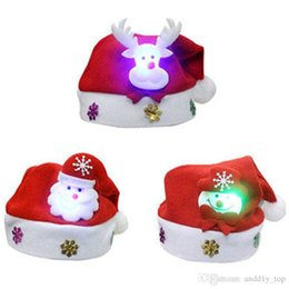 Cartoon Ups NZ - Kids LED Christmas Hat Light UP Cartoon Snowman Elk Santa Red Hats XMAS Decorations For New Year Party Supplies for Child Kids