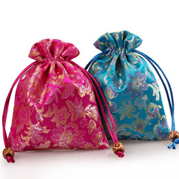 $enCountryForm.capitalKeyWord UK - Drawstring Small Silk Satin Bag Jewelry Pouch High Quality Wedding Party Favor Bags Floral Gift Packaging Sachet 3pcs lot