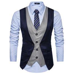 Wholesale men contrast color suit resale online – High Grade Men Vest Fashion Fake Two Piece Patch Waistcoat Casual Slim Business Social Suit Black Vest Groom Plus Size Hot