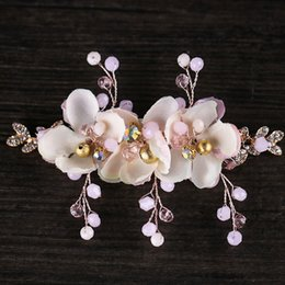 $enCountryForm.capitalKeyWord Canada - Bride's crown hairpin flower with pearl bride's hair manufacturer wholesale 2018 new wedding jewelry headgea