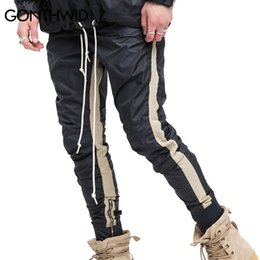 Track Joggers NZ - GONTHWID Zipped Ankle Track Pants Mens 2017 Fashion Urban Jumpsuit Joggers Trousers Male Hip Hop Stripe Sweatpants High Quality