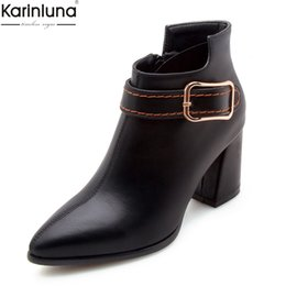 986637fe58 Karinluna novas chegadas dropship tamanho grande 32-47 dedo apontado salto  alto zip up ankle boots mulheres sapatos mulher fivela sapatos botas