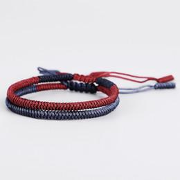3819b7d5e6 2018 New Style Handmade Multi Color Tibetan Buddhist Handmade Knots Lucky  Rope Bracelet Blessed Bracelets   Bangles 2pcs set